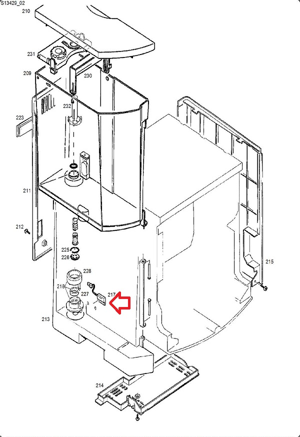 Jura J-S-X-Z-GIGA Water Level Sensor-125mm Diagram