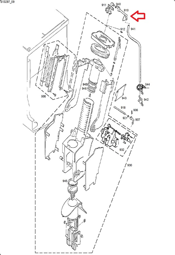 Jura S7-S8-S9-X90-X95-XS90-XS95 Brew Group to Coffee Dispenser Connector Diagram