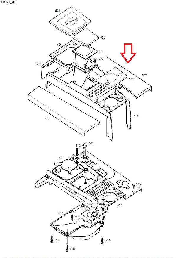 Jura Impressa F7-F8 Accessories Lid Diagram