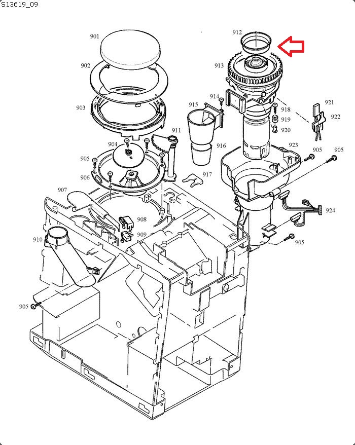 Jura Grinder-Bean Container Gasket Diagram