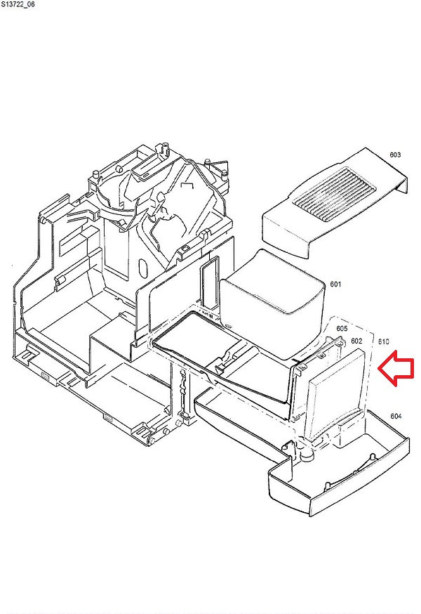 Jura Impressa F7-F8 TFT Grounds Container Tray Diagram