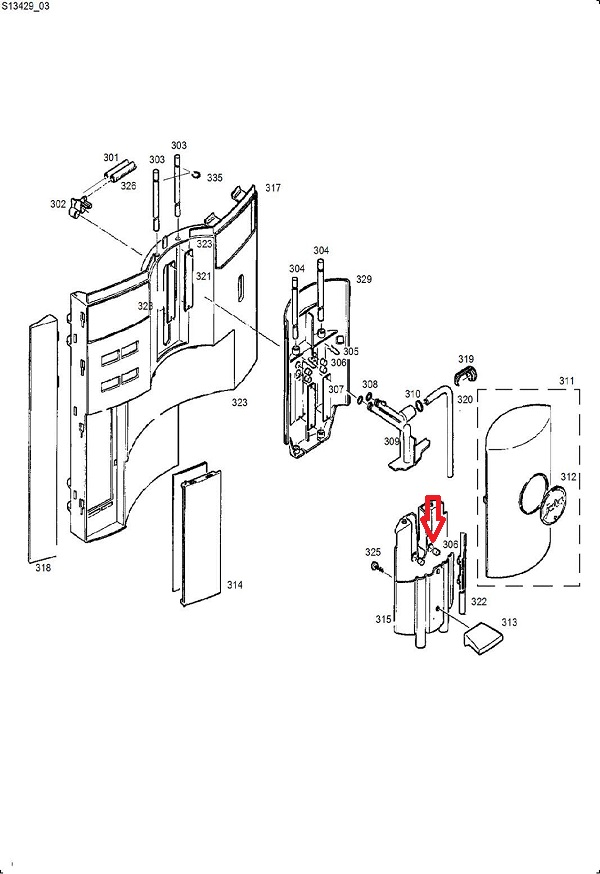 Jura S7-S8-S9-XS90-XS95 Dispensing Spout Magnet Diagram