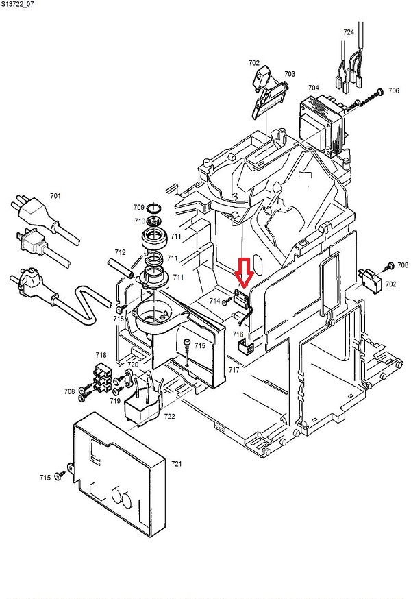 Jura D6-E8-E9-F7-F8-F9 Water Tank Level Sensor Diagram