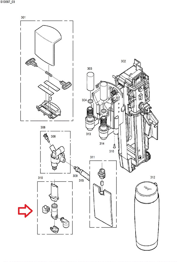 Jura GIGA 5-W3-X3-X7-X8-X9 Milk Dispensing Spout Diagram