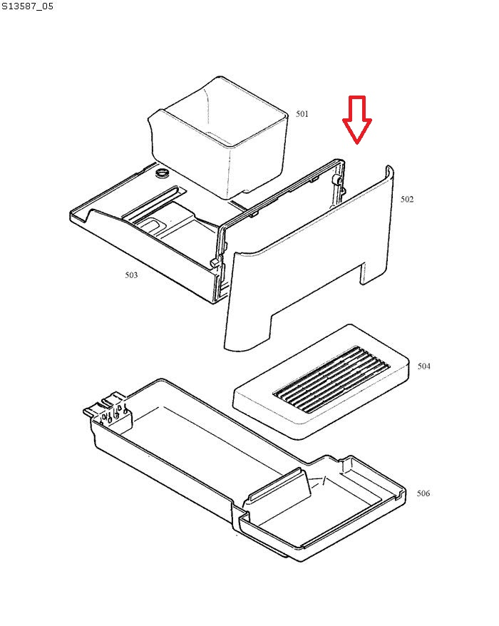 Jura ENA Micro 1-8 Grounds Container Tray Diagram