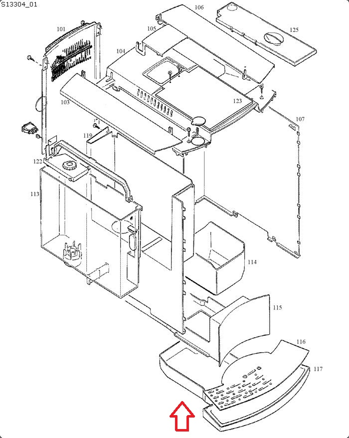 Jura C5 White Drip Tray Diagram