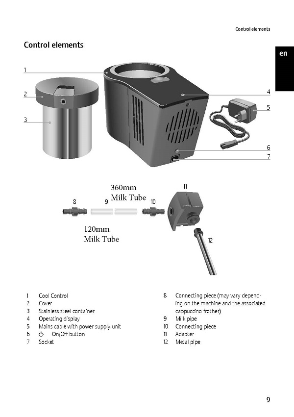 Jura Cool Control Milk Tube & Connectors Diagram
