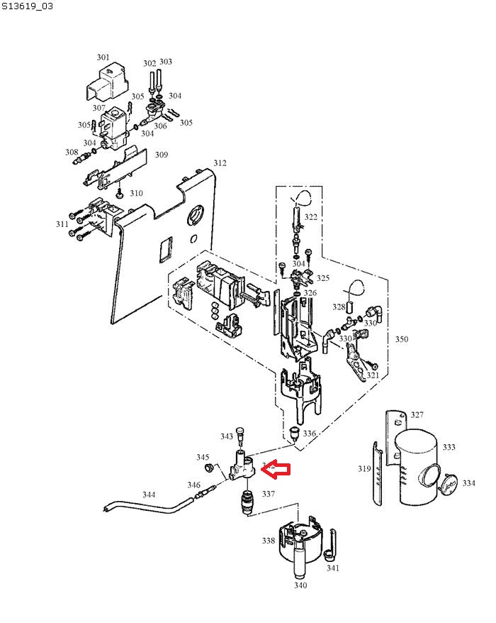 Jura ENA 9 Milk Frother Housing Diagram