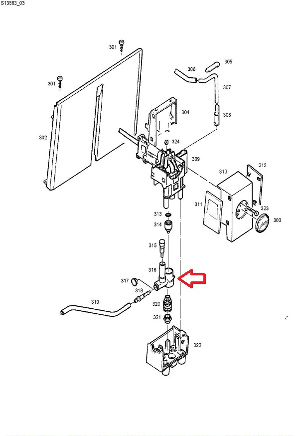 Jura A5-A7-A9 Frother Housing Diagram