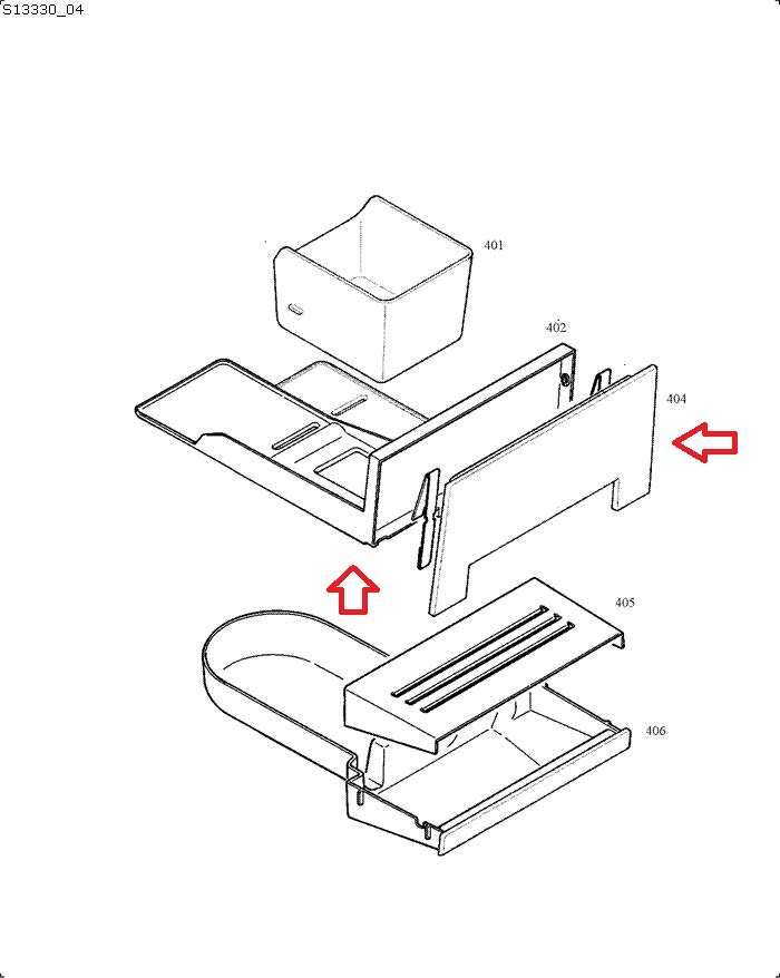 Jura ENA 3-5 White Grounds Container Tray Diagram