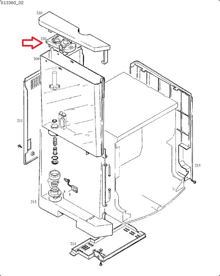 Jura S7-S8-S9-S90-S95 Water Tank Filter Bracket Diagram