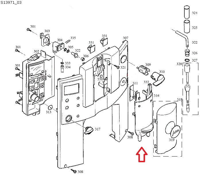 Jura E8-E9-E75 Coffee Dispensing Spout Diagram