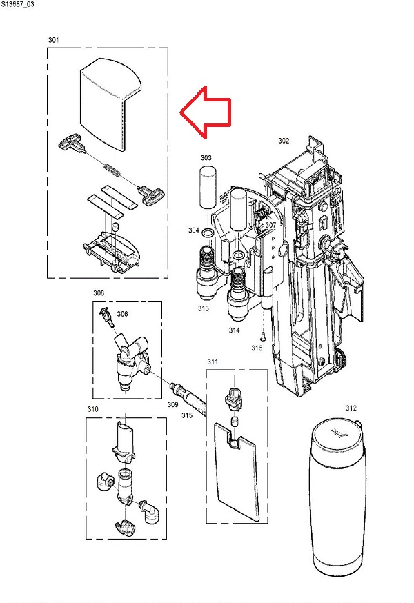 Jura GIGA X3 Dispensing Spout Cover Diagram