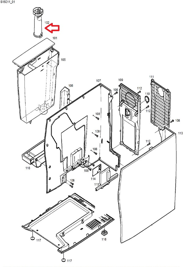 Jura Z6-Z8 Smart Water Filter Extension Rod Diagram