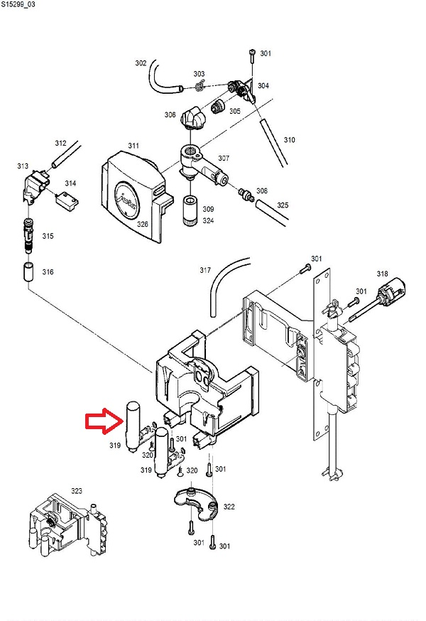 Jura Z8 Coffee Dispensing Spout Diagram