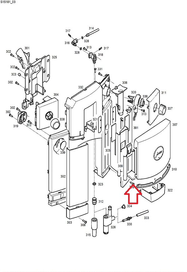 Jura C5-C9-C60-C65-D6 Dispensing Spout Handle Diagram