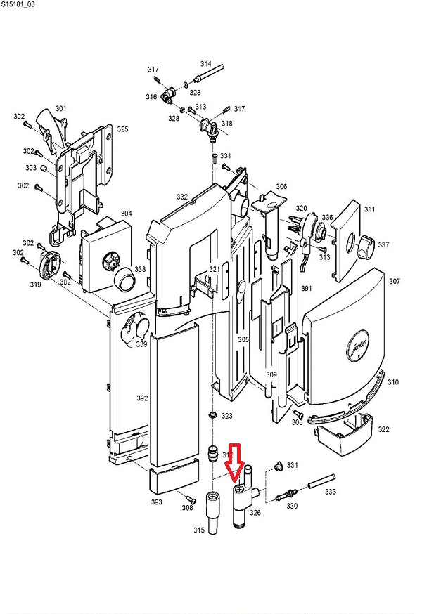 Jura C60-C65-D6-E6-F7-F8-WE8 Frother Housing Diagram